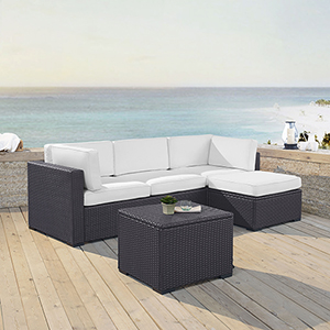 Biscayne 4 Person Outdoor Wicker Seating Set in White - One Loveseat, One Corner Chair, Ottoman, Coffee Table
