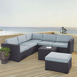 Biscayne 6 Person Outdoor Wicker Seating Set in Mist- Two Loveseats, One Corner Chair, Coffee Table, Ottoman
