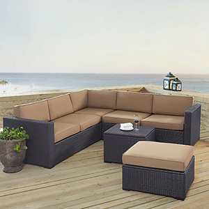 Biscayne 6 Person Outdoor Wicker Seating Set in Mocha - Two Loveseats, One Corner Chair, Coffee Table, Ottoman