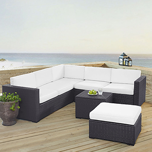 Biscayne 6 Person Outdoor Wicker Seating Set in White - Two Loveseats, One Corner Chair, Coffee Table, Ottoman