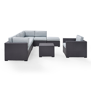 Biscayne 7 Person Outdoor Wicker Seating Set in Mist - Two Loveseats, One Armless Chair, One Arm Chair, Coffee Table, Ottoman