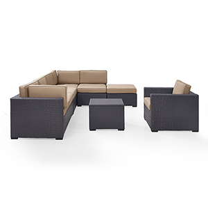 Biscayne 7 Person Outdoor Wicker Seating Set in Mocha - Two Loveseats, One Armless Chair, One Arm Chair, Coffee Table,