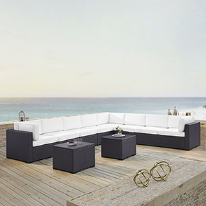 Biscayne 8 Person Outdoor Wicker Seating Set in White - Three Loveseats, Two Armless Chair, Two Coffee Table