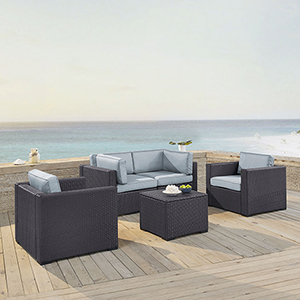 Biscayne 4 Person Outdoor Wicker Seating Set in Mist - Two Armchairs, Two Corner Chair, Coffee Table