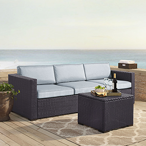 Biscayne 3 Person Outdoor Wicker Seating Set in Mist - One Loveseat, One Corner and Coffee Table