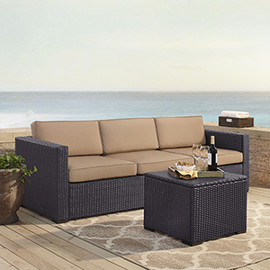 Biscayne 3 Person Outdoor Wicker Seating Set in Mocha - One Loveseat, One Corner and Coffee Table