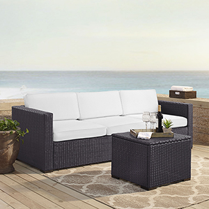 Biscayne 3 Person Outdoor Wicker Seating Set in White - One Loveseat, One Corner and Coffee Table