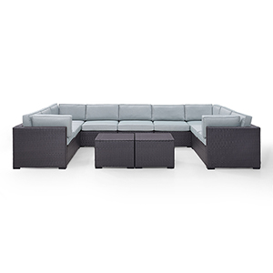 Biscayne 9 Person Outdoor Wicker Seating Set in Mist - Four Loveseats, One Armless Chair, Two Coffee Tables