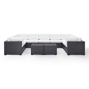Biscayne 9 Person Outdoor Wicker Seating Set in White - Four Loveseats, One Armless Chair, Two Coffee Tables
