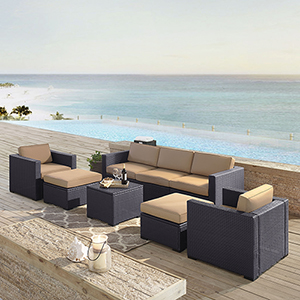 Biscayne 7 Person Outdoor Wicker Seating Set in Mocha - One Loveseat, Two Arm Chairs, One Corner Chair, One Coffee Table, Two