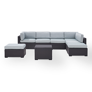 Biscayne 7 Person Outdoor Wicker Seating Set in Mist - Two Loveseats, One Armless Chair, Coffee Table, Two Ottomans