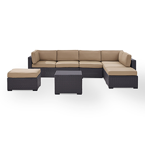 Biscayne 7 Person Outdoor Wicker Seating Set in Mocha - Two Loveseats, One Armless Chair, Coffee Table, Two Ottomans