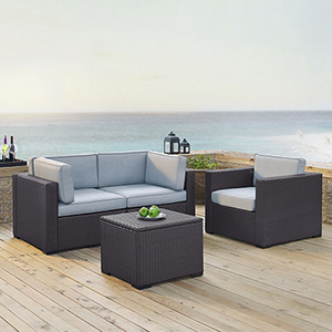 Biscayne 3 Person Outdoor Wicker Seating Set in Mist - Two Corner Chairs, One Arm Chair, One Coffee Table
