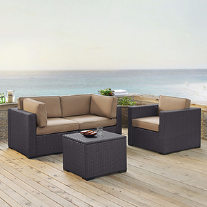 Biscayne 3 Person Outdoor Wicker Seating Set in Mocha - Two Corner Chairs, One Arm Chair, One Coffee Table