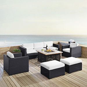 Biscayne 7 Person Outdoor Wicker Seating Set in White - One Loveseat, One Corner Chair, Two Arm Chairs, Two Ottomans, Tucson