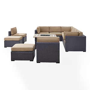 Biscayne 10 Person Outdoor Wicker Seating Set in Mocha - Three Loveseats, Two Armless Chairs, Two Ottomans, Tucson Firetable