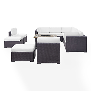 Biscayne 10 Person Outdoor Wicker Seating Set in White - Three Loveseats, Two Armless Chairs, Two Ottomans, Tucson Firetable