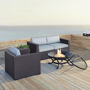 Biscayne 3 Person Outdoor Wicker Seating Set in Mist - Two Corner Chairs, One Arm Chair, Ashland Firepit