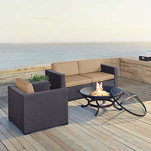 Biscayne 3 Person Outdoor Wicker Seating Set in Mocha - Two Corner Chairs, One Arm Chair, Ashland Firepit