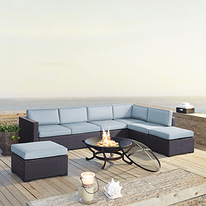 Biscayne 7 Person Outdoor Wicker Seating Set in Mist - Two Loveseats, One Armless Chair, Two Ottomans, Ashland Firepit