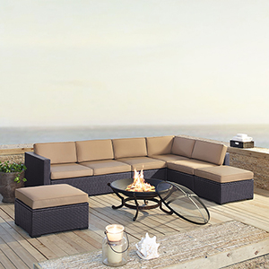Biscayne 7 Person Outdoor Wicker Seating Set in Mocha  - Two Loveseats, One Armless Chair, Two Ottomans, Ashland Firepit