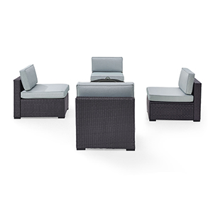 Biscayne 4 Person Outdoor Wicker Seating Set in Mist - Four Armless Chairs, Ashland Firepit