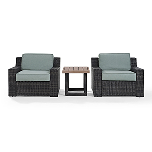 Beaufort 3 Piece Outdoor Wicker Seating Set With Mist Cushion - Two Chairs, Side Table