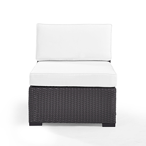 Biscayne Armless Chair With White Cushions