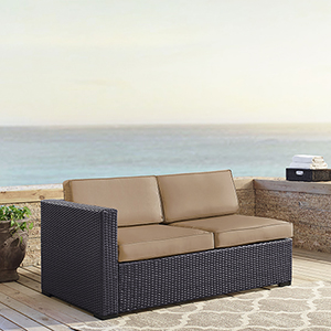 Biscayne Loveseat With Int. Arm With Mocha Cushions