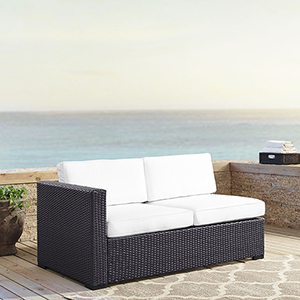 Biscayne Loveseat With Int. Arm With White Cushions