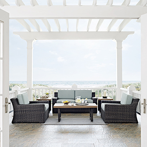 Beaufort 6 Piece Outdoor Wicker Seating Set With Mist Cushion - Loveseat, Two Chairs, Two Side Tables, Coffee Table