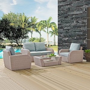 St Augustine 4 Piece Outdoor Wicker Seating Set With Mist Cushion - Loveseat, Two Chairs, Coffee Table