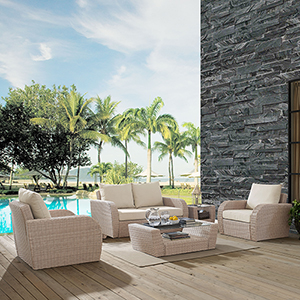 St Augustine 4 Piece Outdoor Wicker Seating Set With Oatmeal Cushion - Loveseat, Two Chairs, Coffee Table