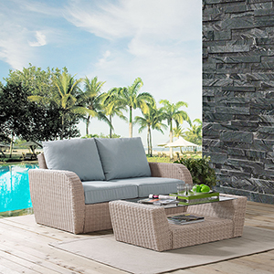 St Augustine 2 Piece Outdoor Wicker Seating Set With Mist Cushion - Loveseat, Coffee Table