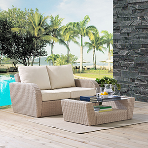 St Augustine 2 Piece Outdoor Wicker Seating Set With Oatmeal Cushion - Loveseat, Coffee Table