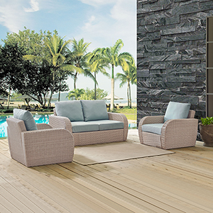 St Augustine 3 Piece Outdoor Wicker Seating Set With Mist Cushion - Loveseat, Two Outdoor Chairs
