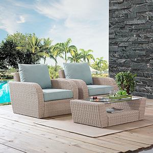 St Augustine 3 Piece Outdoor Wicker Seating Set With Mist Cushion - Two Outdoor Wicker Chairs, Coffee Table