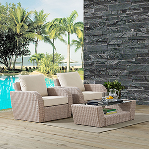St Augustine 3 Piece Outdoor Wicker Seating Set With Oatmeal Cushion - Two Outdoor Wicker Chairs, Coffee Table