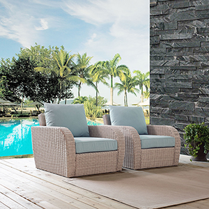St Augustine 2 Piece Outdoor Wicker Seating Set With Mist Cushion -  Two Outdoor Wicker Chairs
