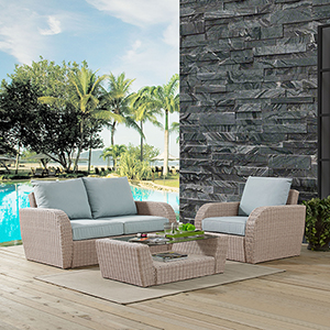 St Augustine 3 Piece Outdoor Wicker Seating Set With Mist Cushion - Loveseat, Arm Chair , Coffee Table