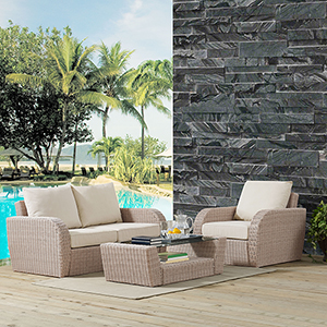 St Augustine 3 Piece Outdoor Wicker Seating Set With Oatmeal Cushion - Loveseat, Arm Chair , Coffee Table