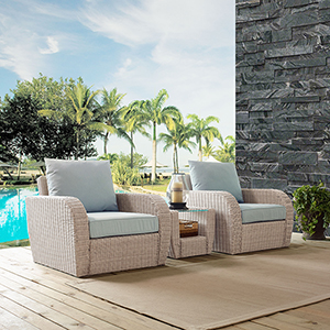 St Augustine 3 Piece Outdoor Wicker Seating Set With Mist Cushion - Two Chairs, Side Table