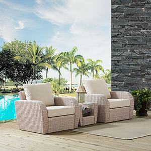 St Augustine 3 Piece Outdoor Wicker Seating Set With Oatmeal Cushion - Two Chairs, Side Table