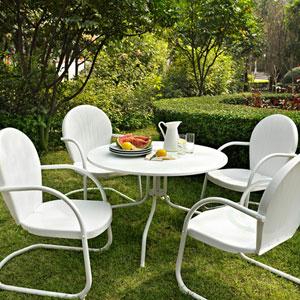 Griffith Metal 40-Inch Five Piece Outdoor Dining Set: 40-Inch Dining Table in White Finish with White Finish Chairs