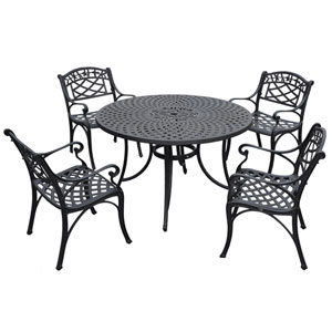 Sedona 48-Inch Five Piece Cast Aluminum Outdoor Dining Set with Arm Chairs in Black Finish
