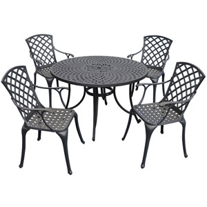 Sedona 48-Inch Five Piece Cast Aluminum Outdoor Dining Set with High Back Arm Chairs in Black Finish