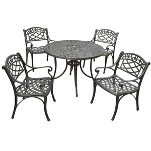 Sedona 42-Inch Five Piece Cast Aluminum Outdoor Dining Set with Arm Chairs in Black Finish