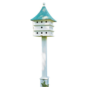 Verde and White 44-Inch Bird Feeder/Bird House with Blue Verde Copper Roof