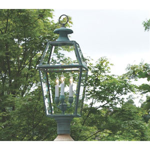 Old Colony Verde Brass Lantern Post Mount