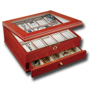 Chris Watch Box for 15 with Viewing Window in Cherry